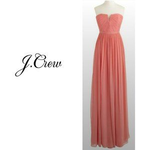 NWT J CREW Nadia Chiffon Gown in Coral, 2 Petite